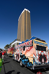 Oct. 19, 2016 - Las Vegas, Nevada, U.S. - Anti-Trump protesters rally in front of Trump International Hotel Wednesday as protesters built a wall of Taco Trucks outside the hotel. The third and final debate will be held Wednesday at Las Vegas Nevada University.  (Credit Image: © Gene Blevins via ZUMA Wire)