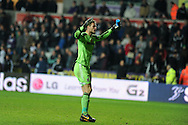 Stoke city keeper Asmir Begovic taunts the home fans at the end of match as he celebrates his teams 3-3 draw.   Barclays Premier league, Swansea city v Stoke city at the Liberty Stadium in Swansea, South Wales on Sunday 10th November 2013. pic by Andrew Orchard, Andrew Orchard sports photography,