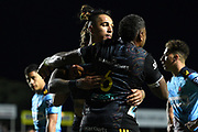 Sean Wainui of the Chiefs celebrates with Pita Gus Sowakula after scoring a try during the Round 5 Trans-Tasman Super Rugby match between NSW Waratahs and Waikato Chiefs at Brookvale Oval in Sydney, Saturday, June 12, 2021. (AAP Image/Dan Himbrechts) NO ARCHIVING, EDITORIAL USE ONLY