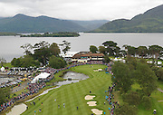 A high view of the 18th green on the Killeen Course as Simon Dyson prepares to take his last putt to win the Irish Open 2011..Picture by MacMonagle, Killarney