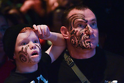 July 8, 2017 - Auckland, Auckland, New Zealand - All Blacks fans watch the match from big screen at waterfront fanzone during the last test match between the New Zealand All Blacks and the British and Irish Lions at Eden Park, Auckland, New Zealand on July 8, 2017. The match ends in a draw. All Blacks 15 Lions 15. The British and Irish Lions are a composite team selected from players representing the national teams of England, Ireland, Scotland or Wales, They play against New Zealand every 12 years. (Credit Image: © Shirley Kwok/Pacific Press via ZUMA Wire)