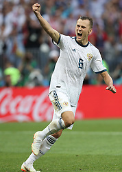 MOSCOW, July 1, 2018  Denis Cheryshev of Russia celebrates after he scored a penalty kick during the 2018 FIFA World Cup round of 16 match between Spain and Russia in Moscow, Russia, July 1, 2018. Russia won 5-4 (4-3 in penalty shootout) and advanced to the quarter-final. (Credit Image: © Cao Can/Xinhua via ZUMA Wire)