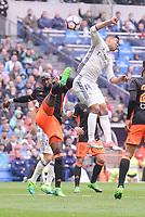 Real Madrid's Carlos Henrique Casemiro and Valencia CF's Eliaquim Mangala during La Liga match between Real Madrid and Valencia CF at Santiago Bernabeu Stadium in Madrid, April 29, 2017. Spain.<br /> (ALTERPHOTOS/BorjaB.Hojas)