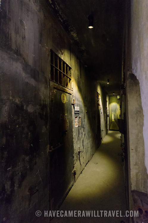 View of the corridor along death row, where prisoners destined for execution were kept in isolation. Hoa Lo Prison, also known sarcastically as the Hanoi Hilton during the Vietnam War, was originally a French colonial prison for political prisoners and then a North Vietnamese prison for prisoners of war. It is especially famous for being the jail used for American pilots shot down during the Vietnam War.