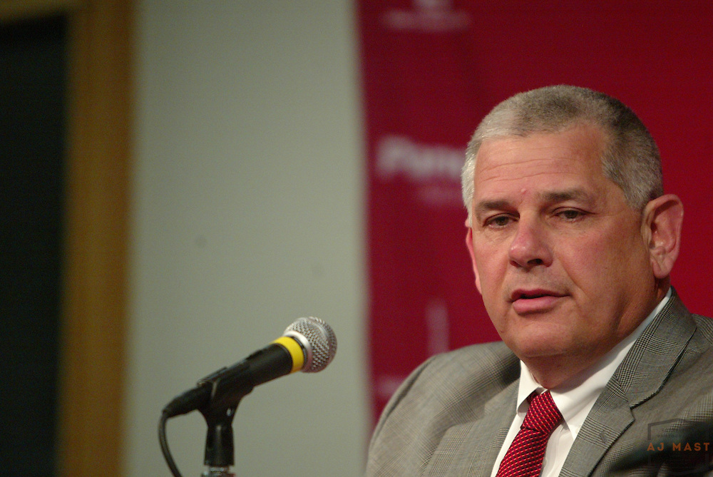 13 February 2008: Indiana University Athletics director Rick Greenspan address the media in regards to an NCAA report outlining violations by Indiana basketball coach Kelvin Sampson.