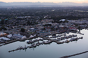 Aerial views of Steveston, BC at sunrise