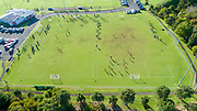 Drone shot of community junior football at Metro Football Club in Mt Albert, Auckland, New Zealand on Saturday 20th June 2020.<br /> Copyright photo: www.photosport.nz