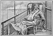 A wounded British officer sitting on deck on his way home from South Africa. 2nd Boer War 1899-1902