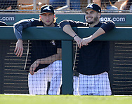 GLENDALE, ARIZONA - FEBRUARY 23:  Michael Kopech (L) and Dylan Cease of the Chicago White Sox look on against the Los Angeles Dodgers on February 23, 2019 at Camelback Ranch in Glendale Arizona.  (Photo by Ron Vesely)  Subject:  Michael Kopech; Dylan Cease