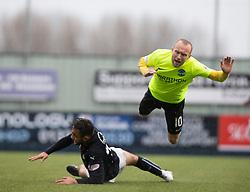 Hibernian's Dylan McGeouch over Falkirk's Tom Taiwo. Falkirk 1 v 2 Hibernian, Scottish Championship game played 31/12/2016 at The Falkirk Stadium .