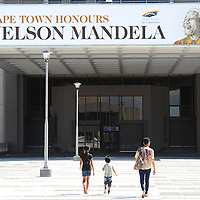 CAPE TOWN, SOUTH AFRICA - Sunday 8 December 2013, The City of Cape Town is hosting a photo exhibition of the late President Nelson Mandela in the Civic Centre in Cape Town, South Africa. Visitors also placed flowers and wrote condolence messages. <br /> Photo by Roger Sedres/ImageSA