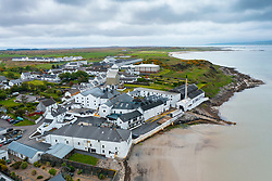Aerial view from drone of Bowmore scotch whisky distillery in Bowmore on Islay, Inner Hebrides , Scotland, UK