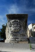 Face carved in ancient Roman column, Roman Forum, Zadar, Croatia