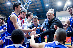Mihevc Dejan and players of KK Tajfun Sentjur during basketball match between KK Sencur  GGD and KK Tajfun Sentjur for Spar cup 2016, on 16th of February , 2016 in Sencur, Sencur Sports hall, Slovenia. Photo by Grega Valancic / Sportida.com