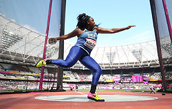 USA's Whitney Ashley competes in the Women's Discus Throw Qualifying during day eight of the 2017 IAAF World Championships at the London Stadium