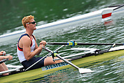 Bled, SLOVENIA.  Marcus BATEMAN, GBR M2X. start in their heat on the opening day  1st FISA World Cup, on Lake Bled. Friday  28/05/2010  [Mandatory Credit Peter Spurrier/ Intersport Images]