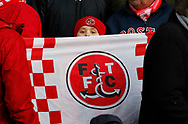 A young Fleetwood fan during the EFL Sky Bet League 1 match between Fleetwood Town and Blackpool at the Highbury Stadium, Fleetwood, England on 25 November 2017. Photo by Paul Thompson.