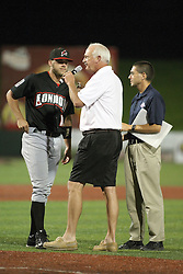 11 July 2012:  Frontier League Commissioner Bill Lee announces and congratulates the games MVP (Most Valuable Player) Joash Brodin (London Rippers) after the Frontier League All Star Baseball game at Corn Crib Stadium on the campus of Heartland Community College in Normal Illinois