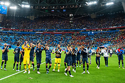 July 10, 2018 - St Petersburg, Russia - 180710 Players of France celebrate after winning the FIFA World Cup semi final match between France and Belgium on July 10, 2018 in ST Petersburg..Photo: Petter Arvidson / BILDBYRÃ…N / kod PA / 92084 (Credit Image: © Petter Arvidson/Bildbyran via ZUMA Press)
