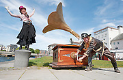 Street Performers Gavin Morgan and Debbie Wright from Ladder 13 herald the announcement of the 35th Galway Arts Festival which runs from the 16th to 29th July in the City of the Tribes.Photo:Andrew Downes