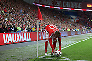 Aaron Ramsey of Wales prepares to take a corner. Wales v Austria , FIFA World Cup qualifier , European group D match at the Cardiff city Stadium in Cardiff , South Wales on Saturday 2nd September 2017. pic by Andrew Orchard, Andrew Orchard sports photography