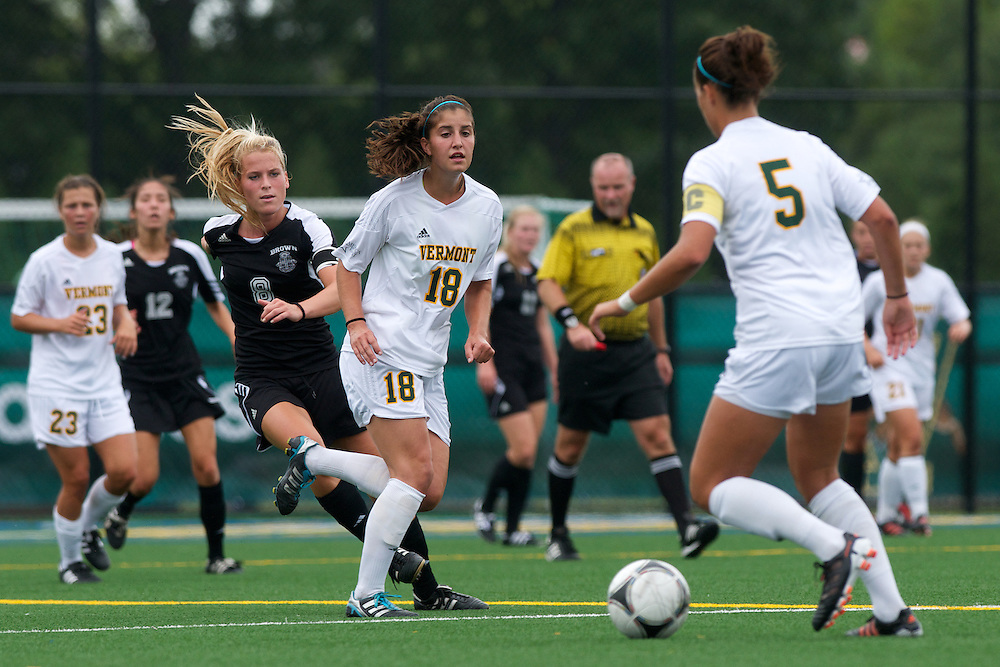 Vermont midfielder Lily Feldman (18) looks for the pass from Vermont midfielder Alexa DeMaio (5) during the women's soccer game between the Brown Bears and the Vermont Catamounts at Virtue Field on Saturday afternoon September 8, 2012 in Burlington, Vermont.