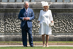 © Licensed to London News Pictures. 03/06/2019. London, UK. The Prince of Wales and Camilla, Duchess of Cornwall attend a ceremonial welcome at Buckingham Palace in honour of US President Donald Trump. The visit is on the first day of a three day state visit. Photo credit: Ray Tang/LNP