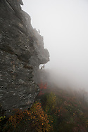 Rappelling the Chimney's near Table Rock in the Pisgah National Forest, North Carolina.