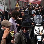 Police make arrests during the Occupy Brooklyn March over the Williamsburg Bridge, New York, USA. 1st May 2012. Photo Tim Clayton