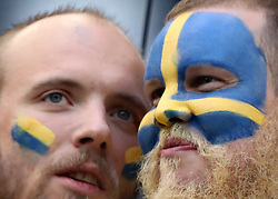SAINT PETERSBURG, July 3, 2018  Fans of Sweden are seen prior to the 2018 FIFA World Cup round of 16 match between Switzerland and Sweden in Saint Petersburg, Russia, July 3, 2018. (Credit Image: © Cao Can/Xinhua via ZUMA Wire)