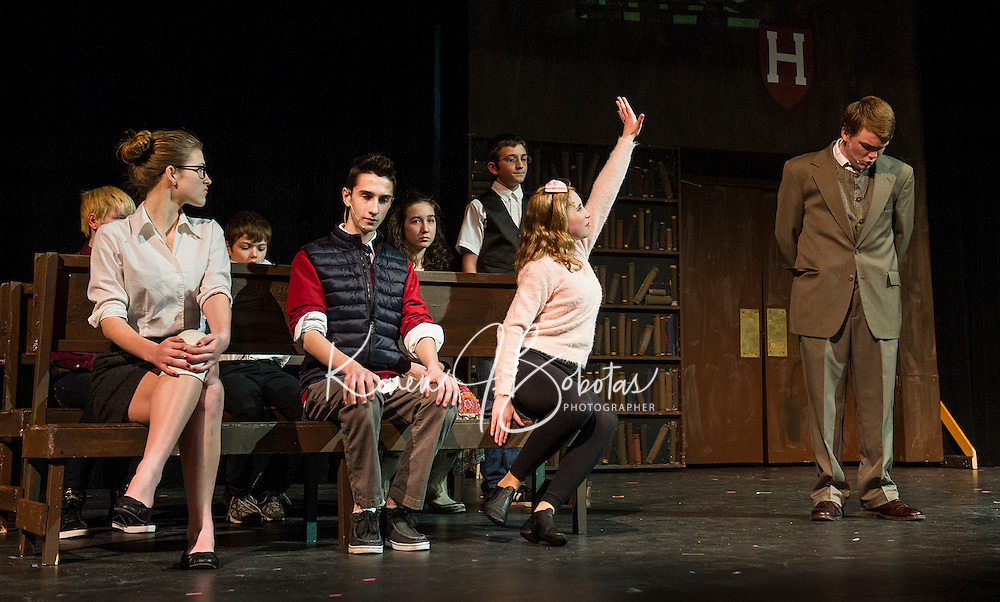 """Emma Tierno as Vivienne, Tyler Browne as Warner and Chelsea Sasserson as Elle Woods with Grandmaster Chad played by Owen Nelson during Gilford Middle School's production of """"Legally Blonde"""" on Monday afternoon.   (Karen Bobotas/for the Laconia Daily Sun)"""
