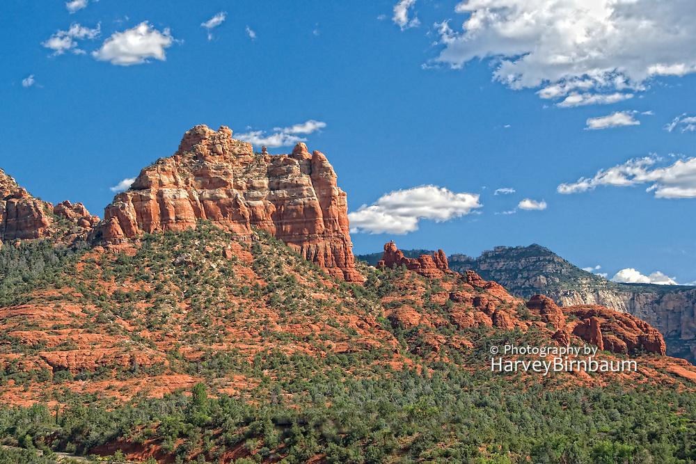 Sedona, USA, Arizona. Moody Red mountain formations. Rain storms brewing.