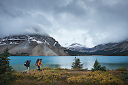 Backpacking at Bow Lake in Banff National Park, Canada.