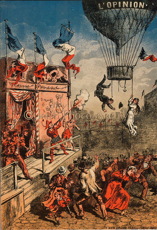 Humorous print of a circus performer on an outdoor stage shooting at a balloon, labelled 'L'Opinion', as a man leaps from the gondola and a woman clings to a rope, 1870-1900.  Entertainment Aeronautics Ballooning