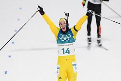 February 12, 2018 - Pyeongchang, SOUTH KOREA - 180212  Sebastian Samuelsson of Sweden, Silver,  celebrates after the Men's Biathlon 12,5km Pursuit during day three of the 2018 Winter Olympics on February 12, 2018 in Pyeongchang..Photo: Jon Olav Nesvold / BILDBYRÃ…N / kod JE / 160157 (Credit Image: © Jon Olav Nesvold/Bildbyran via ZUMA Press)