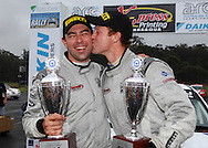 Eli Evans plants a kiss on his co driver Chris Murphy after winning the Coff's Coast Rally .Motorsport-Rally/2008 Coffs Coast Rally.Heat 2.Coffs Harbour, NSW.16th of November 2008.(C) Joel Strickland Photographics