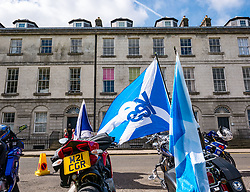 Pictured: All Under One Banner Independence March, Perth,  Scotland, United Kingdom, 07 September 2019. Independence supporters march through Perth in the latest All Under One Banner (AUOB) march of this year. Yes Bikers parked next to North Inch. Sally Anderson | EdinburghElitemedia.co.uk