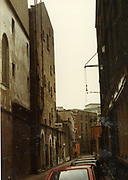 Old amateur photos of Dublin streets churches, cars, lanes, roads, shops schools, hospitals, Streetscape views are hard to come by while the quality is not always the best in this collection they do capture Dublin streets not often available and have seen a lot of change since photos were taken April 1983, Olympia Theather, lane, moulding lion head, the oak tree pub dame st, castle, doorway, april 1983