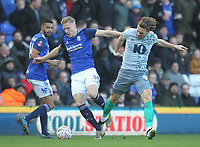 Blackburn Rovers Sam Gallagher   in action with Birmingham City's Kristian Pedersen <br /> <br /> Photographer Mick Walker/CameraSport<br /> <br /> Emirates FA Cup Third Round - Birmingham City v Blackburn Rovers - Saturday 4th January 2020 - St Andrew's - Birmingham<br />  <br /> World Copyright © 2020 CameraSport. All rights reserved. 43 Linden Ave. Countesthorpe. Leicester. England. LE8 5PG - Tel: +44 (0) 116 277 4147 - admin@camerasport.com - www.camerasport.com
