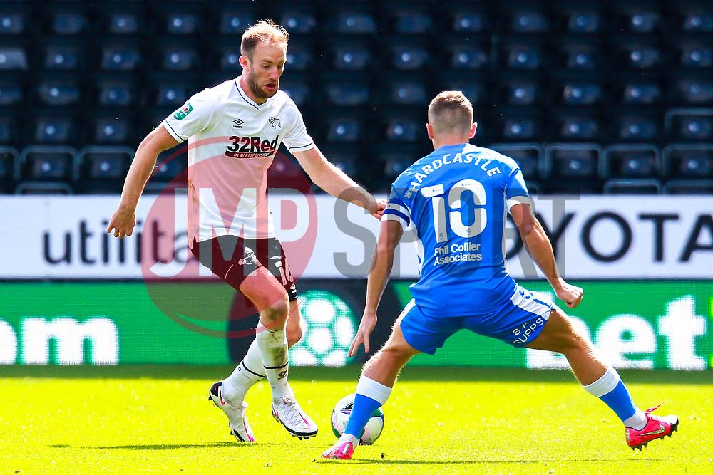 Matt Clarke of Derby County looks to get past Lewis Hardcastle of Barrow - Mandatory by-line: Ryan Crockett/JMP - 05/09/2020 - FOOTBALL - Pride Park Stadium - Derby, England - Derby County v Barrow - Carabao Cup