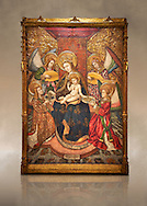 Gothic altarpiece of Madonna and Child and 4 angels, by Pere Garcia de Benavarri, circa 1445-1485, tempera and gold leaf on wood.  National Museum of Catalan Art, Barcelona, Spain, inv no: MNAC  15817. Against a art background. . .<br /> <br /> If you prefer you can also buy from our ALAMY PHOTO LIBRARY  Collection visit : https://www.alamy.com/portfolio/paul-williams-funkystock/gothic-art-antiquities.html  Type -     MANAC    - into the LOWER SEARCH WITHIN GALLERY box. Refine search by adding background colour, place, museum etc<br /> <br /> Visit our MEDIEVAL GOTHIC ART PHOTO COLLECTIONS for more   photos  to download or buy as prints https://funkystock.photoshelter.com/gallery-collection/Medieval-Gothic-Art-Antiquities-Historic-Sites-Pictures-Images-of/C0000gZ8POl_DCqE