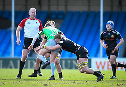 Kate Zackary of Exeter Chiefs attempts a tackle on Emily Scott of Harlequins - Mandatory by-line: Andy Watts/JMP - 06/02/2021 - Sandy Park - Exeter, England - Exeter Chiefs Women v Harlequins Women - Allianz Premier 15s