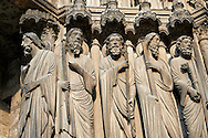 South Porch left jam. Cathedral of Chartres, France. Gothic statue of from left to right, they are Matthew , Thomas, Philip (with sword), Andrew (with cross) and Peter (with cross and keys),  A UNESCO World Heritage Site. .<br /> <br /> Visit our MEDIEVAL ART PHOTO COLLECTIONS for more   photos  to download or buy as prints https://funkystock.photoshelter.com/gallery-collection/Medieval-Middle-Ages-Art-Artefacts-Antiquities-Pictures-Images-of/C0000YpKXiAHnG2k