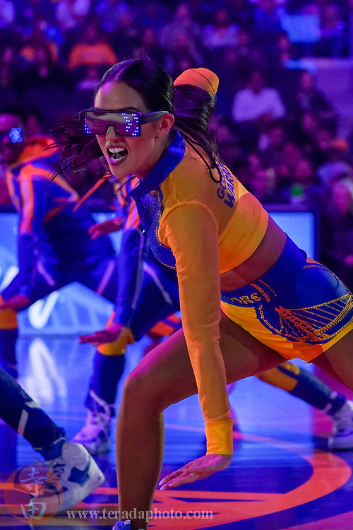 February 23, 2020; San Francisco, California, USA; Golden State Warriors Dance Team dancer Helen during the first quarter against the New Orleans Pelicans at Chase Center.