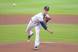 May 18, 2018 - Atlanta, GA, U.S. - ATLANTA, GA Ð MAY 18:  Braves starting pitcher Matt Wisler (45) delivers a pitch to the plate during the game between Atlanta and Miami on May 18th, 2018 at SunTrust Park in Atlanta, GA. (Photo by Rich von Biberstein/Icon Sportswire) (Credit Image: © Rich Von Biberstein/Icon SMI via ZUMA Press)