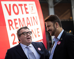 © Licensed to London News Pictures . 13/05/2016 . Liverpool , UK . Labour Party Deputy Leader TOM WATSON (l) talking to AFZAL KAHN (r) , with the Labour In for Britain campaign bus and campaigners in Williamson Square in Liverpool . Photo credit : Joel Goodman/LNP