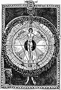 Hildegard of Bingen (1098-1179) German abbess and mystic, bottom left; looking up at her vision of Man, the microcosm, embraced by God and the macrocosm. Engraving
