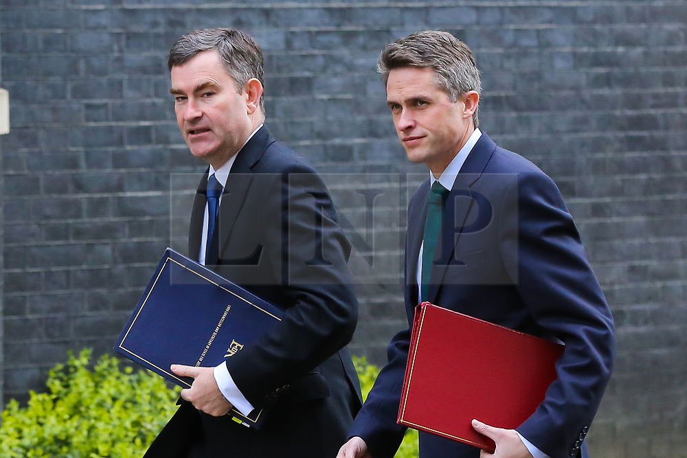 © Licensed to London News Pictures. 26/03/2019. London, UK. David Gauke - Justice Secretary 9L) and Gavin Williamson - Secretary of State for Defence (R) arrives in Downing Street for the weekly Cabinet meeting. Photo credit: Dinendra Haria/LNP