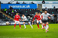 GOAL 3-1 Swansea City midfielder Matt Grimes (8) scores from the penalty spot during the FA Cup match between Swansea City and Nottingham Forest at the Liberty Stadium, Swansea, Wales on 23 January 2021.