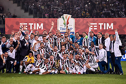 May 9, 2018 - Rome, Italy - Players of Juventus pose the trophy after the TIM Cup - Coppa Italia final match between Juventus and AC Milan at Stadio Olimpico, Rome, Italy on 9 May 2018. (Credit Image: © Giuseppe Maffia/NurPhoto via ZUMA Press)